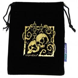 Sacchetto in pelle scamosciata - Golden Skulls: 12,5 x 14 cm