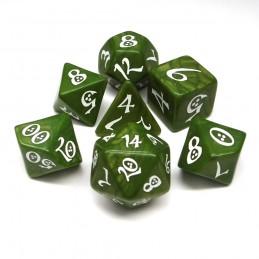 Classici - Set di dadi per GDR (Verde Oliva / Bianco)