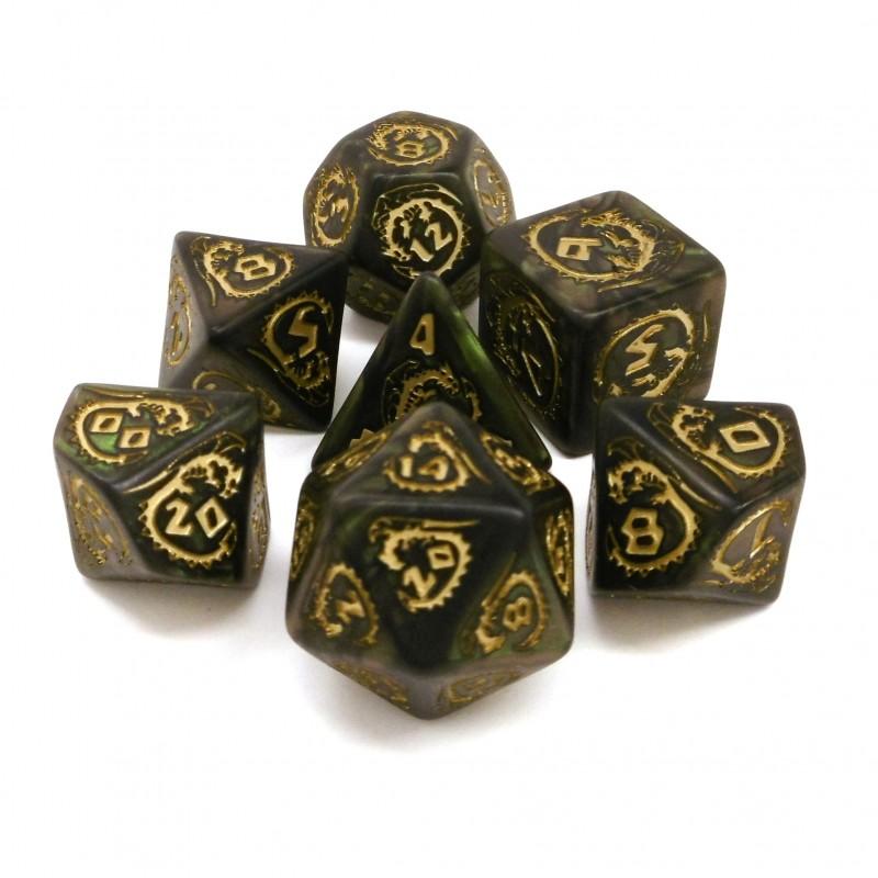 Dragons - Set di dadi (Verde Bottiglia / Oro)