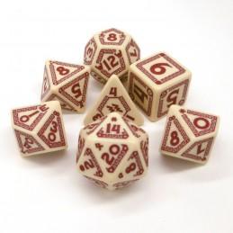 RuneQuest: Set di dadi Beige / Rosso Borgogna