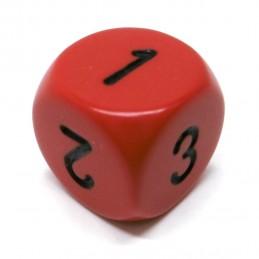 Opaco - Dado d3 a 6 facce (Rosso / Nero)