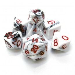 Marmoreo - Set di dadi (Bianco / Rosso)