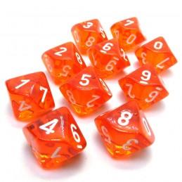 Trasparenti - Set di dadi 10d10 (Arancione / Bianco)