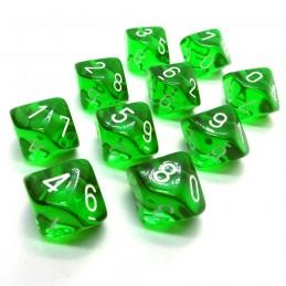 Trasparenti - Set di dadi 10d10 (Verde / Bianco)