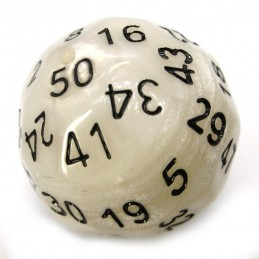 Opaco - Dado singolo d50 (Perlato Bianco-Nero)