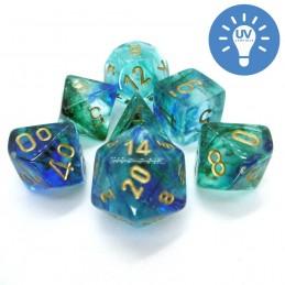 Nebulosa - Set di dadi (Blu Oceanico / Oro)