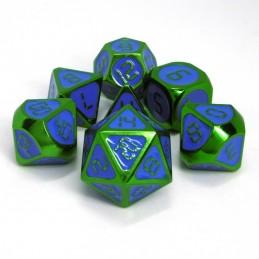 Metallo - Set di dadi Verde / Smalto Blu