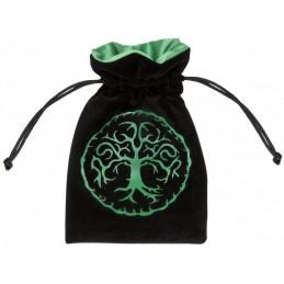 Sacchetto portadadi di velluto con logo Foresta verde (10 x 15 cm)