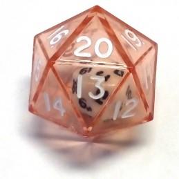 Dadi doppi - d20 singolo rosso trasparente