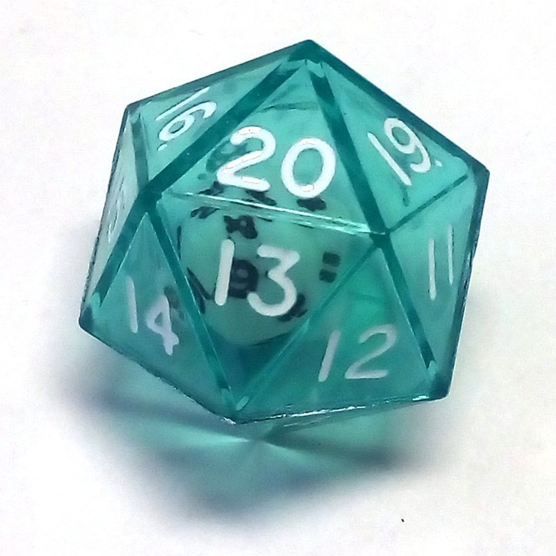 Dadi doppi - d20 singolo verde trasparente