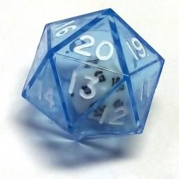 Dadi doppi - d20 singolo blu trasparente