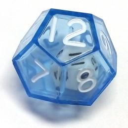 Dadi doppi - d12 singolo blu trasparente