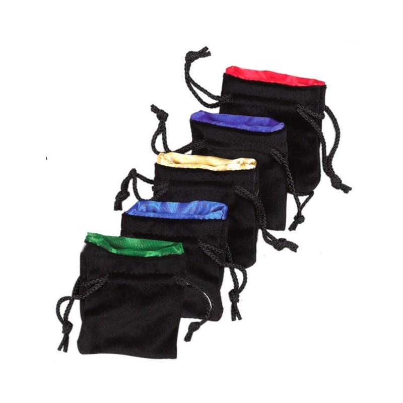 Sacchetto portadadi nero rivestito in seta (9 x 9,5 cm)