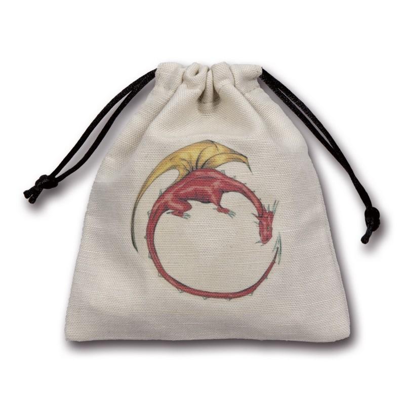 Sacchetto portadadi in stoffa con logo: Drago a colori - 11 x 11 cm