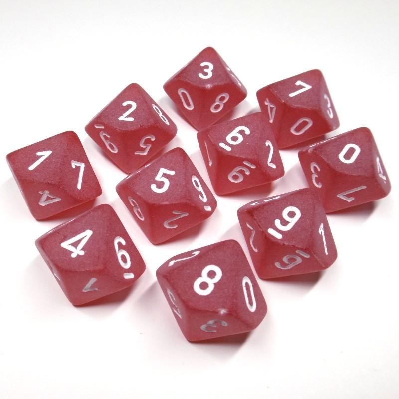 Ghiacciati - Set di dadi 10d10 (Rosso / Bianco)