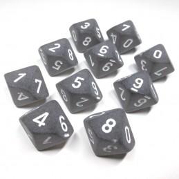 Ghiacciati - Set di dadi 10d10 (Grigio / Bianco)