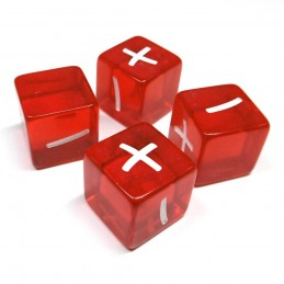 Set di dadi: Trasparente rosso