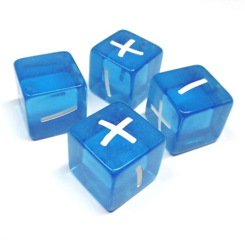 Fate: Set di 4 dadi (Trasparente blu)