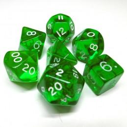 Trasparenti - Set di dadi Gem (Verde / Bianco)