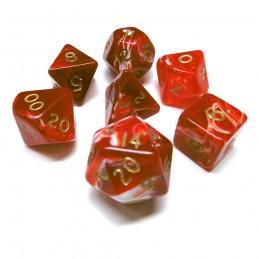 Marmoreo - Set di dadi (Rosso / Oro)