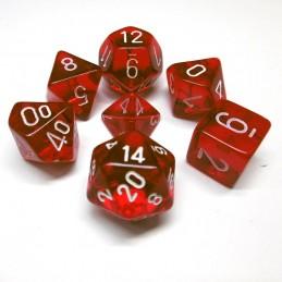 Trasparenti - Set di dadi (Rosso / Bianco)