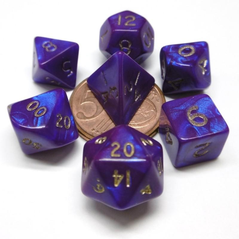 Mini - Set di dadi Interferenz (Viola / Oro)