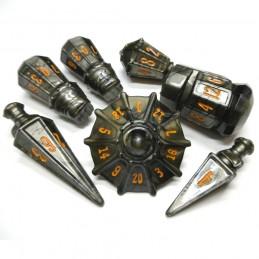PolyHero - Guerriero: Set di dadi Grigio acciaio e Rame fuso