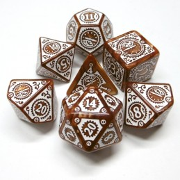 Steampunk Orologio - Set di dadi (Caramello / Bianco)
