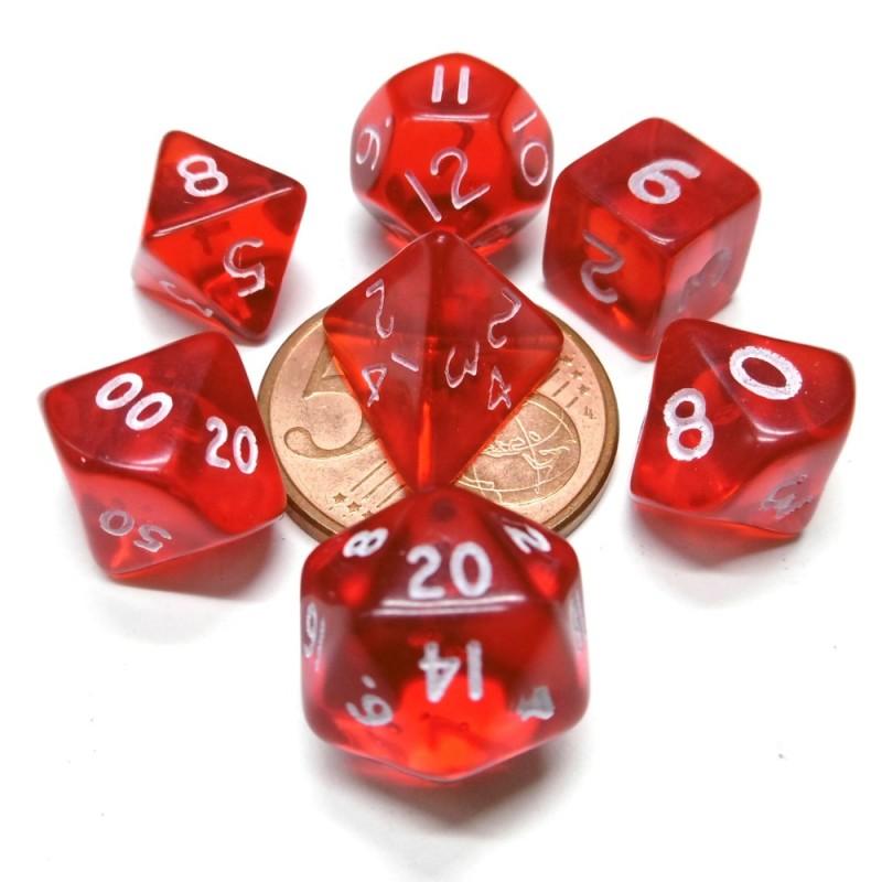 Mini - Set di dadi Trasparenti (Rosso / Bianco)