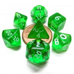 Mini - Set di dadi Trasparenti (Verde / Bianco)