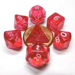 Mini - Set di dadi Trasparenti (Rosa / Bianco)
