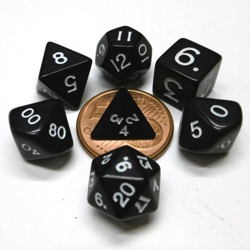 Mini - Set di dadi Opachi (Nero / Bianco)