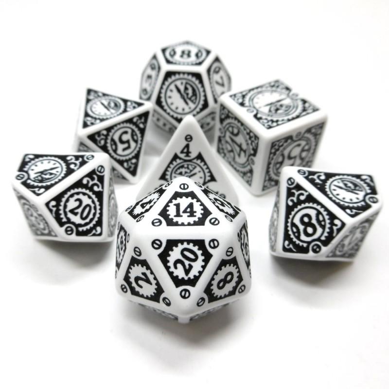 Steampunk Orologio - Set di dadi (Bianco / Nero)