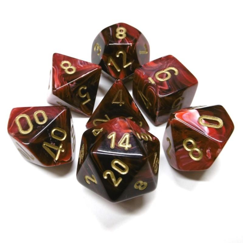 Vortex - Set di dadi (Rosso Borgogna / Oro)