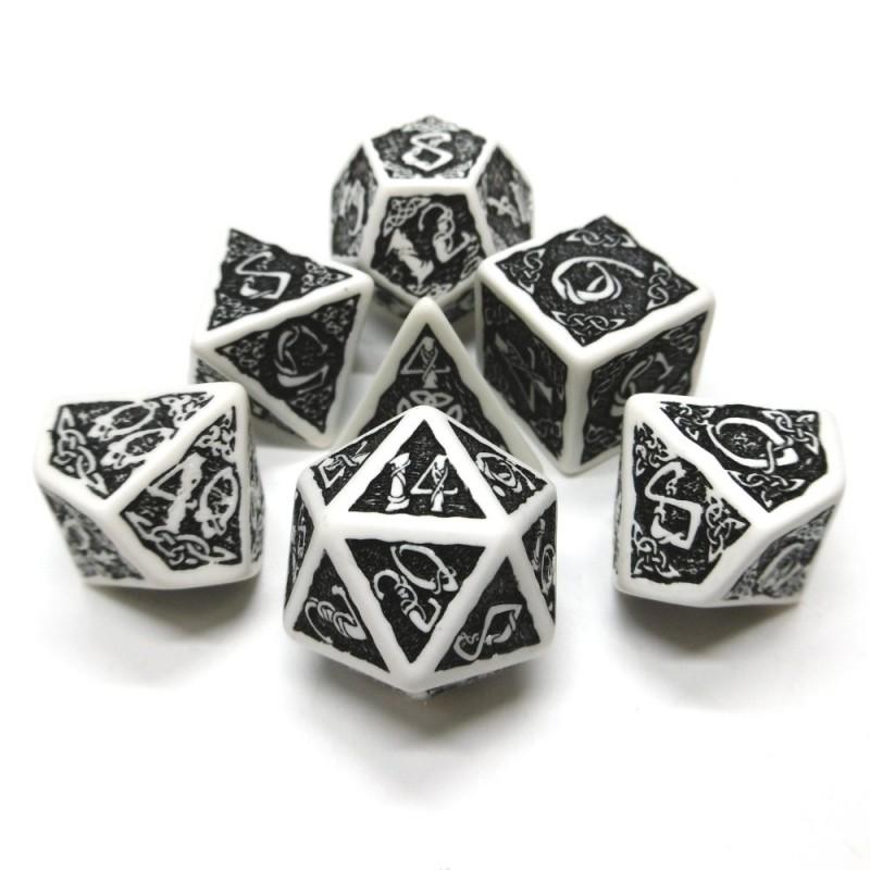 Celtic 3D - Set di dadi (Bianco / Nero)