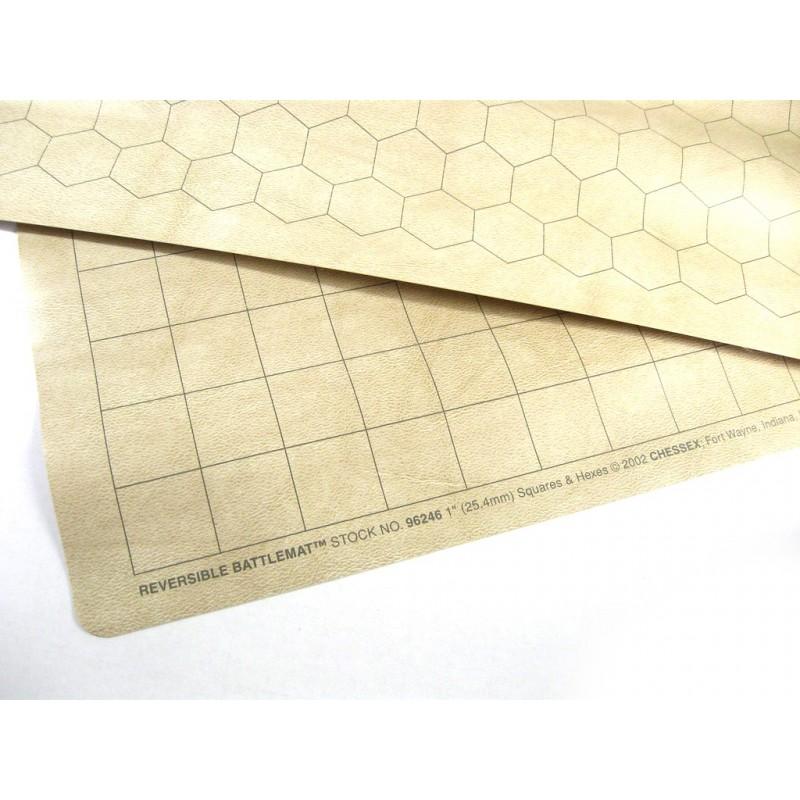 Battlemat reversibile: Quadrati ed Esagoni (88 x 120 cm)