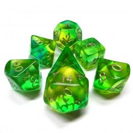 Trasparenti - Set di dadi (Verde-Giallo / Oro)