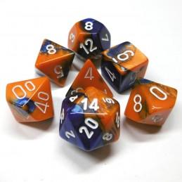 Gemini - Set di dadi (Blu-Arancione / Bianco)