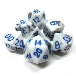Marmoreo - Set di dadi (Bianco / Blu)