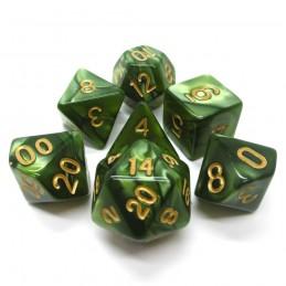 Perlati - Set di dadi (Verde erba / Oro)