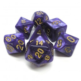Perlati - Set di dadi (Viola / Oro)