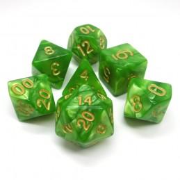 Perlati - Set di dadi (Verde Chiaro / Oro)