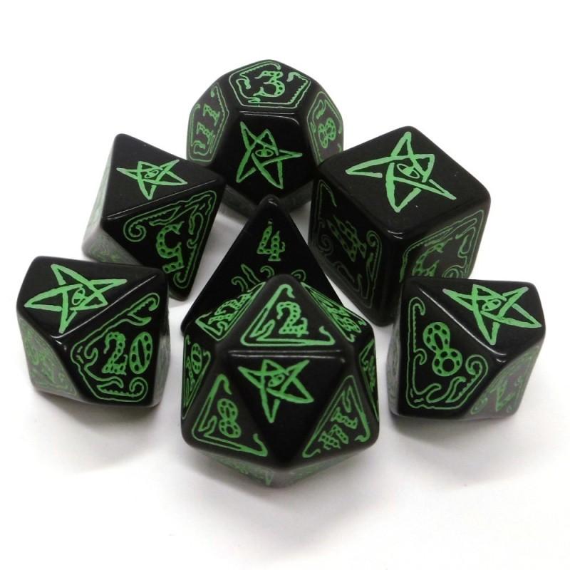 Il richiamo di Cthulhu: Set di dadi (Nero-Verde)