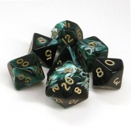 Marmoreo - Set di dadi (Verde / Oro)