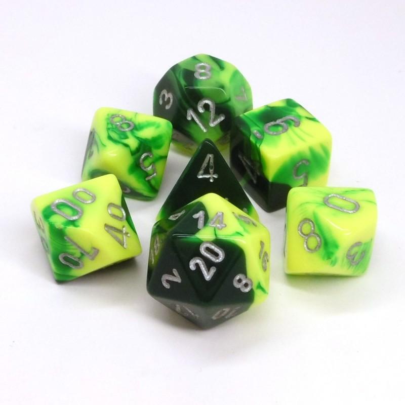 Gemini - Set di dadi (Verde-Giallo / Argento)
