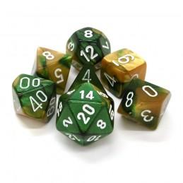 Gemini - Set di dadi (Oro-Verde / Bianco)