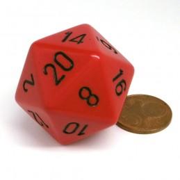 Opaco - Dado a 20 facce da 34 mm (Rosso / Nero)